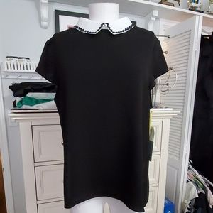 CECE BLACK TOP WHITE COLLAR SZ CL NWT